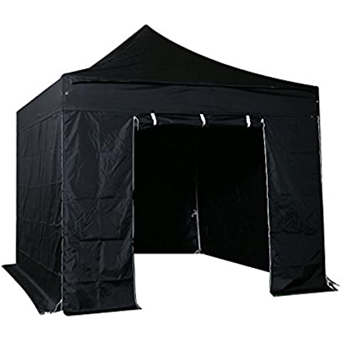 INTEROUGE - Carpa Pabellón Plegable con Paredes para Jardín Patio Fiesta - 3x3m,Tubo de Aluminio,Impermeable,Adjustable de Altura,Color Negro