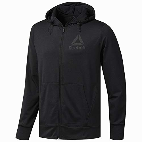 Reebok Herren Speedwick FZ Hoodie Jacke, schwarz, Large (Reebok Sweatshirt)