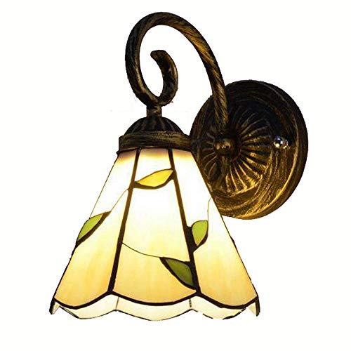 Tiffany Korridor Wandleuchten Ein Kopf Schlafzimmer Kopfenden Beige Glaslampenschirm Wandleuchte Balkon Veranda Spiegel-Front-Badezimmer Wandleuchten