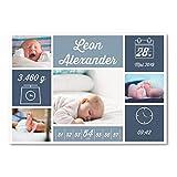 greetinks 5 x Geburtskarten 'Unboxed' in Blau | Personalisierte Karten zur Geburt zum selbst gestalten | 5 Stück Babykarten Dankeskarten