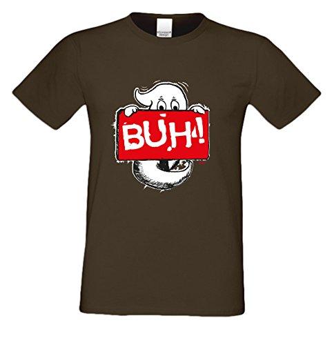 Halloween T-Shirts Herren Fun-Motiv Geist Buh! gruselige Geschenkidee Party-Outfit Kostüm Hexen Gespenster Geister Farbe: braun Gr: (Halloween Ideen Brauch Für)
