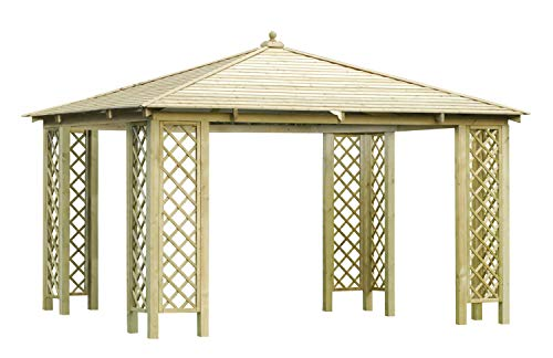 Spazioso gazebo rettangolare da giardino in legno di abete - trattato in autoclave (misure: 4 m x4 m)