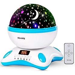 Lámpara Proyector con música. Proyecta estrellas en una rotación de 360º con led, pantalla, romántica luz de la noche y 8 modos, regalo para niños cumpleaños, día de los Reyes, Navidad - Azul y blanco