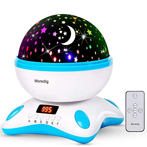 Moredig 360 grados rotación música proyector lámpara estrellas con control remoto y led pantalla, romántica luz de la noche y 8 modos, regalo para niños y bebés cumpleaños, día de los Reyes, Navidad, Halloween etc - Azul y blanco