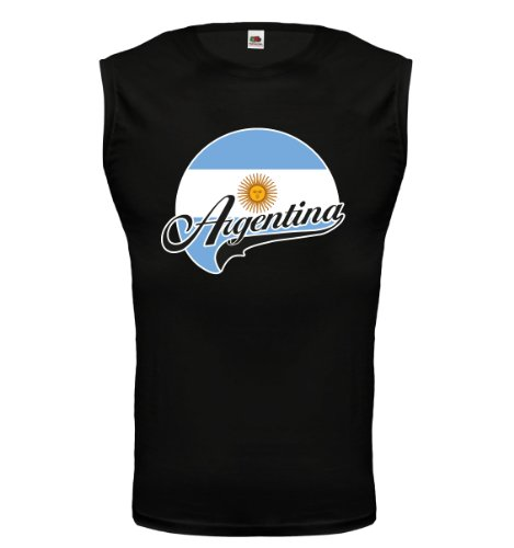 buXsbaum® Tank Top Argentinien-Logo Black-z-direct