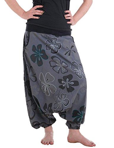 Vishes - Alternative Bekleidung - Weite Haremshose aus Baumwolle mit tiefem Schritt und Taschen - großflächig mit Blumen Bedruckt und Bestickt grau 36