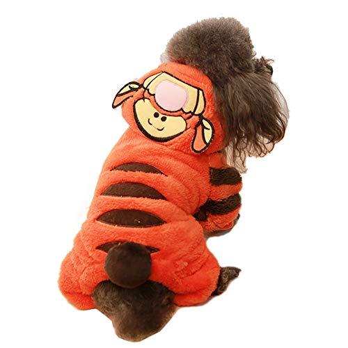 Hunde Kostüm Lustige - Coppthinktu Tiger Hundekostüm, lustiges Halloween-Kostüm, süßes Hunde-Kostüm, Cosplay, Jumpsuit für Welpen, kleine, mittelgroße und große Hunde, XX-Small, Mehrfarbig