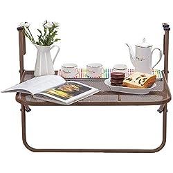 Faltreifen Tabelle Klapptisch Für Balkon, Metallgeländer An Der Wand Befestigter Tisch, Braunes Fenster Faltbarer Tisch Für Handlauf