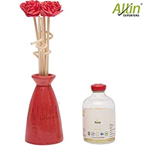 Allin Exporters Scented Reed Diffuser Ceramic Pot Gift Set with 60 ml Rose Aroma Oil for Bedroom, Washroom, Office and Spa (Red)