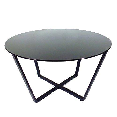 Mango Steam Table Basse Rond en Verre, Dessus Noir et Base Noire