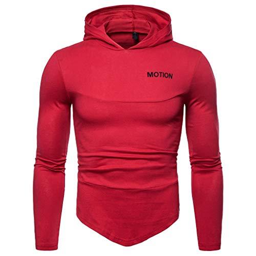 Xmiral Herren Hoodie Tops Unregelmäßiger Saum Mit Kapuze Patchwork-Buchstabe Sweatshirt Einfarbig Pullover(L,A-Rot) -