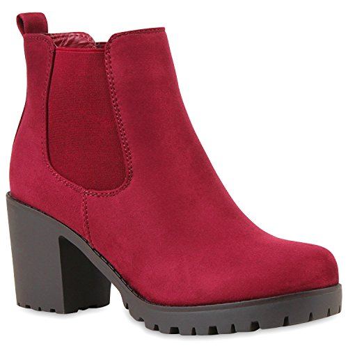 Stylische Damen Boots Stiefeletten Chelsea Boots Knöchelhohe Stiefel Zipper Leder-Optik Booties Schuhe 113520 Dunkelrot 41 Flandell Leder-stiefel