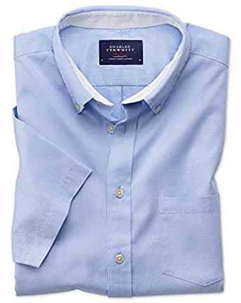 Classic fit button down washed oxford short sleeve sky for Charles tyrwhitt shirts review