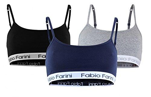 3 Stück Spitzen Bustier (Fabio Farini Sport-BH Sports-Bra mit breitem Unterbrustband und Spaghetti-Trägern, in 3 Farben (S, 3 Stück))