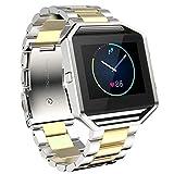 Mode-Strap,Moeavan Fitbit Blaze Band, Armband-Ersatz Edelstahl-Armband Zubehör für Fitbit Blaze Smart Watch (Gold-Silber)