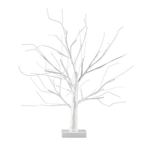 Minisun - lampada da tavolo bella e devorativa, operata a batteria e di 45cm nello stile di un bonsai bianco con 24 luci led di colore bianco caldo - lampada da tavolo