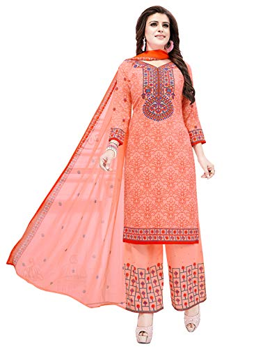 Ishin Synthetic Peach Printed Women\'s Unstitched Salwar Suits dress material with Dupatta