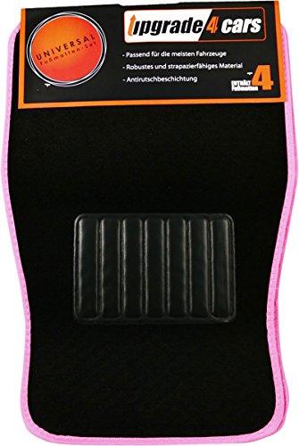 Auto Fussmatten Universal Rutschfest | Velours Fußmatten Pink Schwarz | 4-teiliges Auto Matten Komplett Set | für Vorne und Hinten | Autozubehör Innenraum