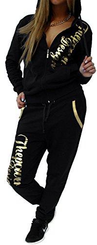 Unbekannt Damen Jogginganzug Trainingsanzug Hose + Jacke Damen Jogginganzug Trainingsanzug 2tlg Set lang bequem Fitness große Größen Power (schwarz-Gold, 5XL