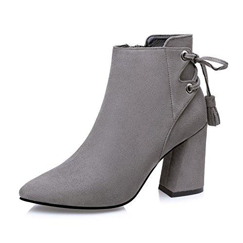 FLYRCX Sexy europea prua bendaggio stivali in pelle scamosciata spessa lady caldo tacchi Sexy party scarpe dimensione europea: 34-39 C