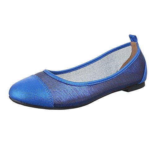 Damen Schuhe, DM72-3, BALLERINAS ÜBERGRÖßEN MODERNE Blau