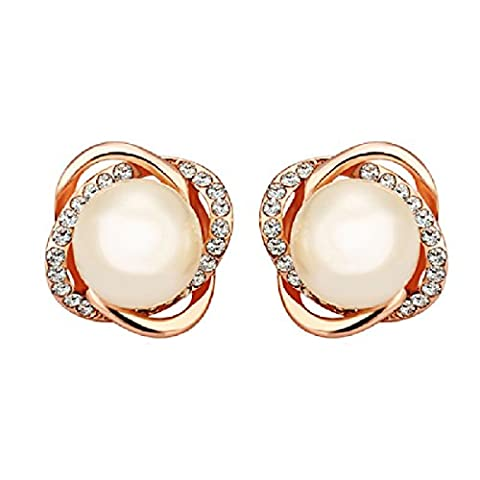 joyliveCY Women Exquisite 18K White Gold Plated Rose-Gold Oval Shaped