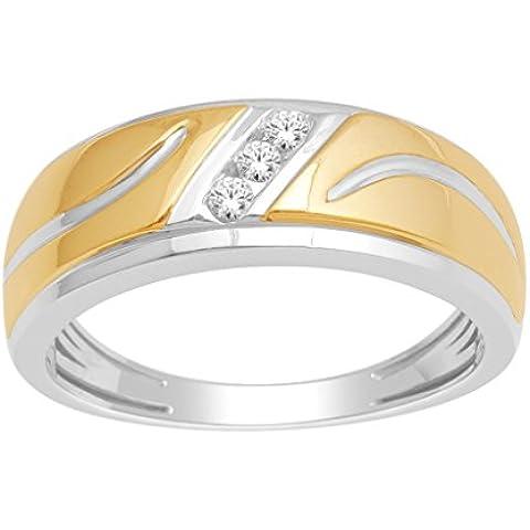 Anelli MidwestJewellery.com-Fedina da uomo, 1/10Cttw due tonalità, 10 K White Gold 8 mm, ampia vestibilità confortevole, I, J, 0,1Cttw) - 10k White Gold Diamond Band
