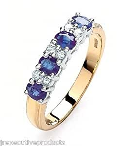 Yellow Gold 4mm Real Sapphire & Diamond Eternity Ring (size K - T available)