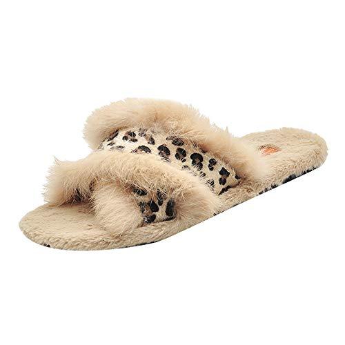 Hausschuhe Damen Winter Plüsch Stiefel DOLDOA Innen Leopard -