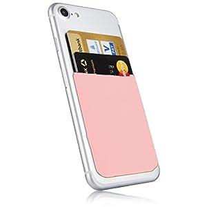 MyGadget Kartenhalter für Smartphones - RFID Blocking Haftendes Kartenfach, Kartenhülle, Karten Halterung - Geldbörse fürs Handy Etui Wallet in Rosa