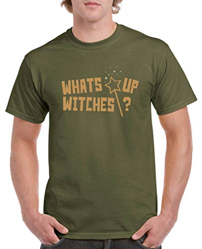 Comedy Shirts - What\'s up Witches? - Halloween - Herren T-Shirt - Oliv/Hellbraun-Beige Gr. XXL