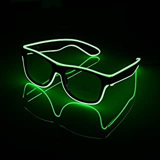 Awhao LED Light Up Fashion Glasses EL Wire Light-Up Glow Sunglasses Frame Illuminated Eye-wear Nightclub For Parties, Costume, Ball, Disco Clubs, Haloween , Birthdays, Festivals (Green)