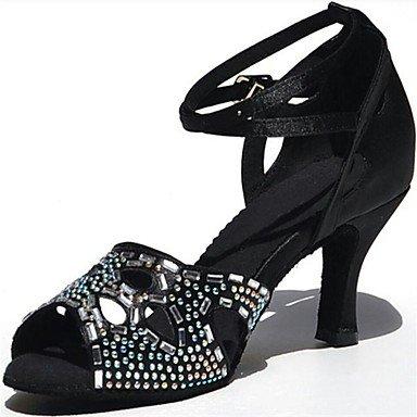 Zapatillas De Baile-personalizables-mujeres-latinoamericanas Baile-carrete Heel-brillantini-black Black