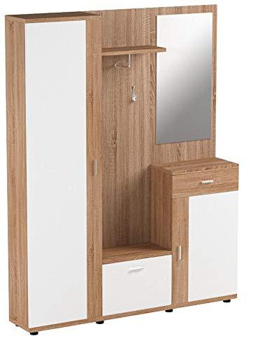 Stella Trading Patent Kompaktgarderobe, Garderobe, Holzdekor, Sonoma-Weiß, ca. 145 x 184 x 29 cm