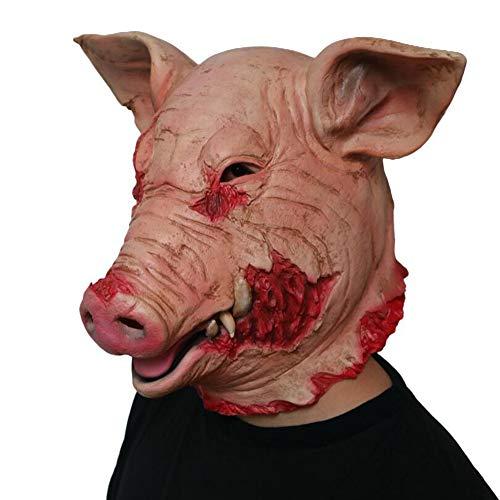 JIANGJIE Halloween-Schweine Masken Kopf Latex Scary Kostüm