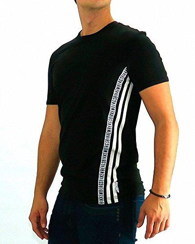 bikkembergs-tshirt-dirk-bikkembergs-three-stripe-black-xl-schwarz