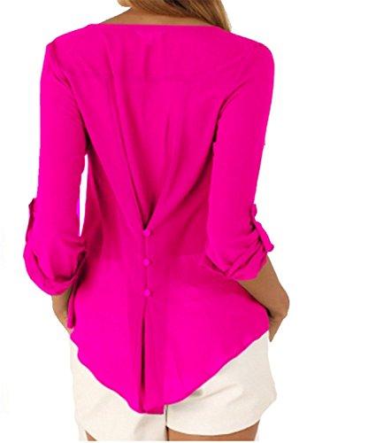 SHUNLIU women Blouses Summer V Neck Long Sleeve Loose Chiffon Blouse Tshirt  Tops Rosa