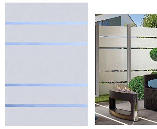 Sichtschutz Glas Element ALPHA 180x120cm, satiniert mit 4 durchsichtigen Streifen - Sichtschutzzäune Sichtschutzwand Gartensichtschutz Balkonsichtschutz Winschutz Sichtschutzwand für Garten und Terasse Blickschutz für Balkon Sichtschutzwände Sichtschutzwände, WPC Sichtschutz