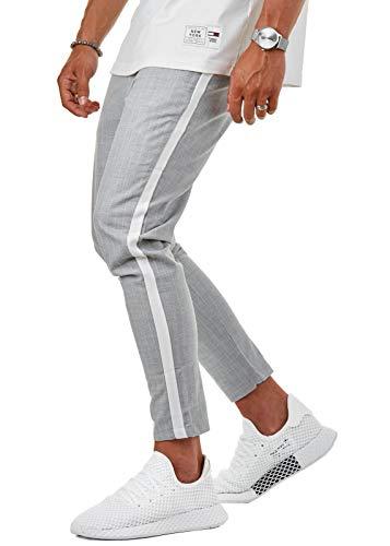 Herren Jogging Pants Karierte Stoffhose Schwarz Grau 7/8 Skinny Fit EFJ8503, Farbe:Grau, Hosengröße:W36 L32
