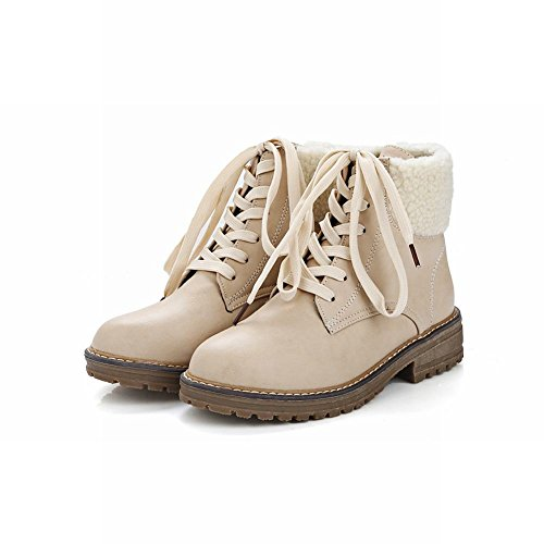 Mee Shoes Damen Niedrig runde Schnürsenkel Stiefel Beige