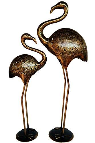 2er SET Garten Deko Figuren Reiher 73cm & 60cm aus Metall | XL Vintage Dekofiguren als Gartendeko | Tischdeko auf dem gedeckten Tisch | Tierfiguren als Kunstfiguren im Balkon oder Terrasse 2 Stück - Zen-bad-tisch
