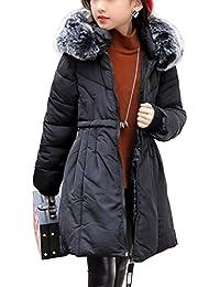 6fbb8dd96d Brinny Fille Manteau Hiver - Epais Manteau Doudoune à Capuche Détachable  Fille Femme Longue Veste Winter