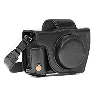MegaGear MG1066 Ever Ready Leather Case and Strap with Battery Access for Canon PowerShot G5 X Camera - Black
