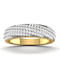 Vijisan 0.92 Ct. Gold Rhodium Plated 925 Sterling Silver Designer Ring For Women