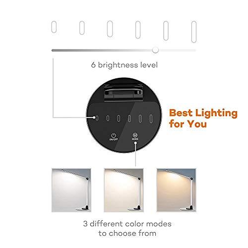 Lampada da Scrivania TaoTronics, Lampada da Tavolo Ufficio LED 12W con 6 Luminosità + 3 Temperature di Colore, Porta di Ricarica USB per Smartphone, LED Occhi-Cura, Funzione Memoria – Grigio Argento - 4