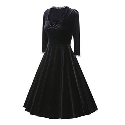 LUOUSE Femmes Manches 3/4 robe de velours fête robe de cocktail vintage femmes Robe robe de soirée Noir