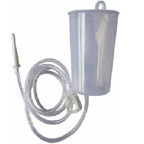 GND Naturofy Enema Can Plastic .8 Quart Saral Yog Basti Kriya with 1 PVC Tube + 1 Pinch Clamp + 1 Nozzle + 1 Colon Tip