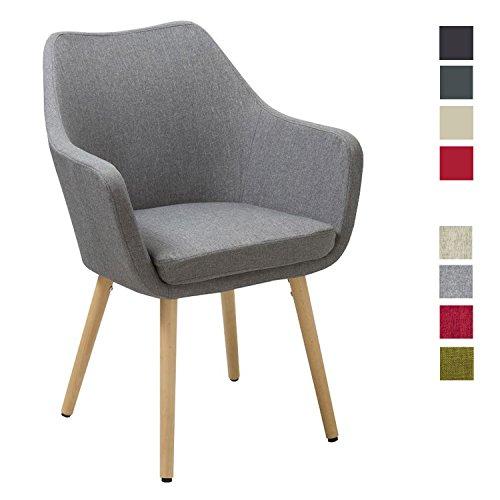 Esszimmerstuhl aus Stoff (Leinen) oder Kunstleder Grau Farbauswahl Retro Design Armlehnstuhl mit Rückenlehne Holzbeine WY-8021D