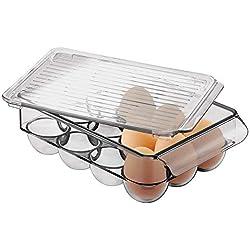 mDesign boite à œufs en plastique pour réfrigérateur – grand porte-œufs – caisse de rangement empilable et avec couvercle pour 12 œufs – gris fumé