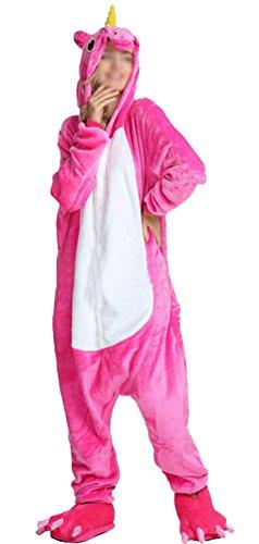 SMITHROAD Jumpsuit Tier Karton Fasching Halloween Kostüm Sleepsuit Cosplay Fleece-Overall Pyjama Schlafanzug Erwachsene Unisex Nachtwäsche S/M/L/XL (M, Rosa Einhorn)